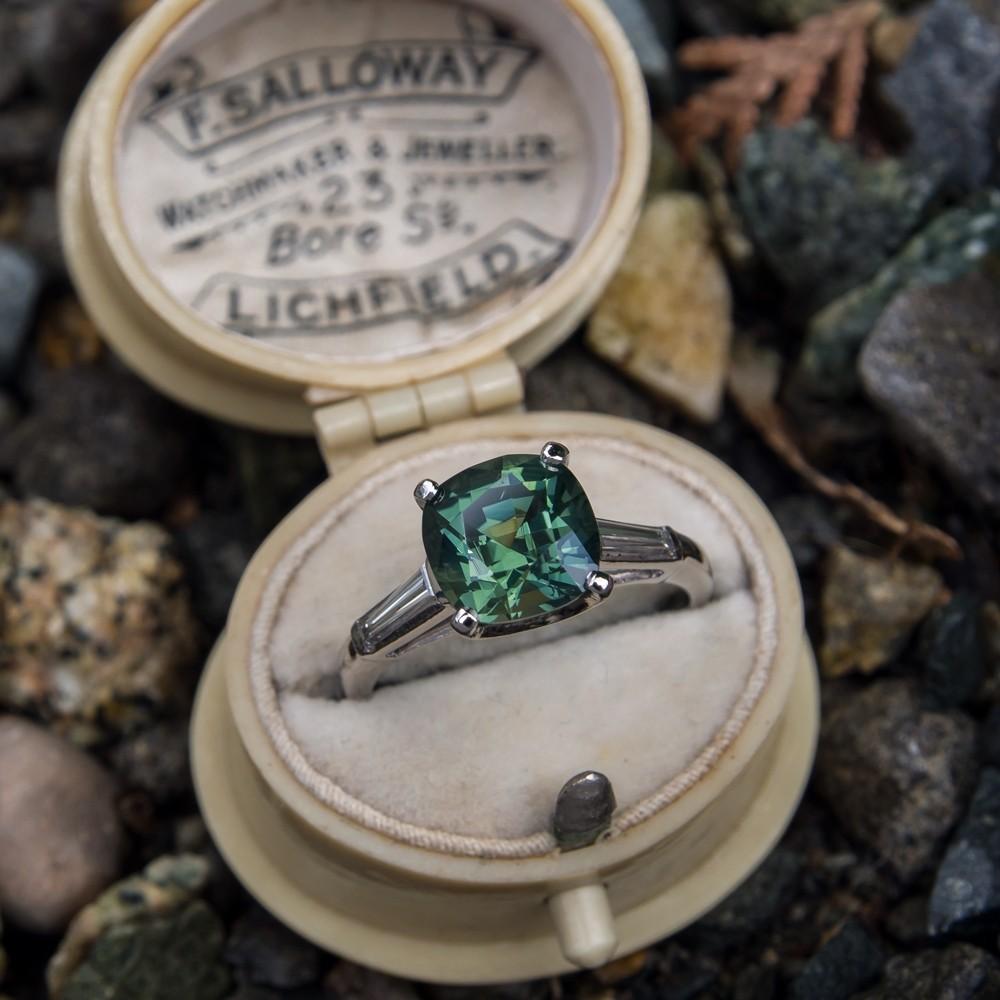 3 Carat No Heat Green Sapphire Engagement Ring