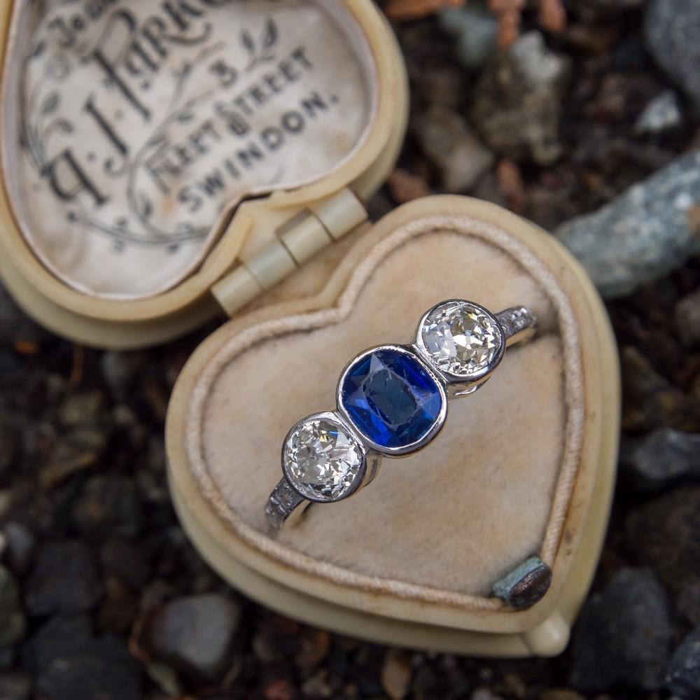 Antique Three Stone Sapphire Diamond Bezel Ring 18K Yellow Gold