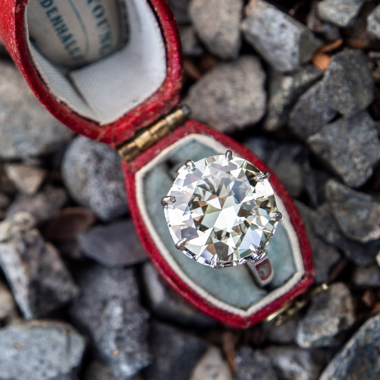 6 Carat Transitional Cut Diamond Vintage Engagement Ring