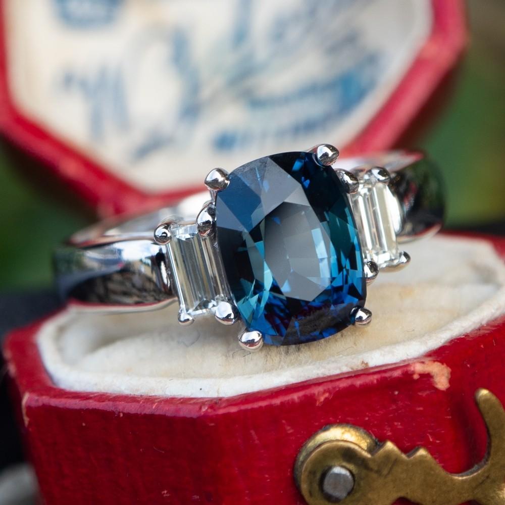 Blue-Green Sapphire & Diamond Three Stone Engagement Ring 14K