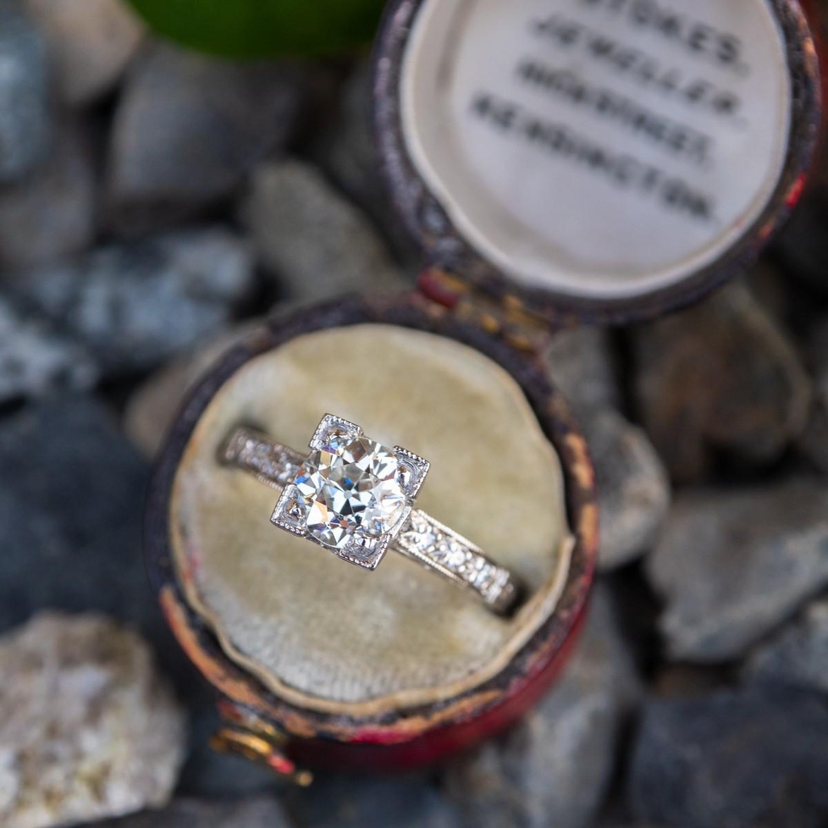 GIA Old European Cut Diamond Art Deco Engagement Ring Engraved