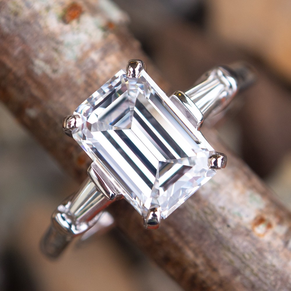 GIA 2 Carat Emerald Cut Diamond Engagement Ring D/VVS1