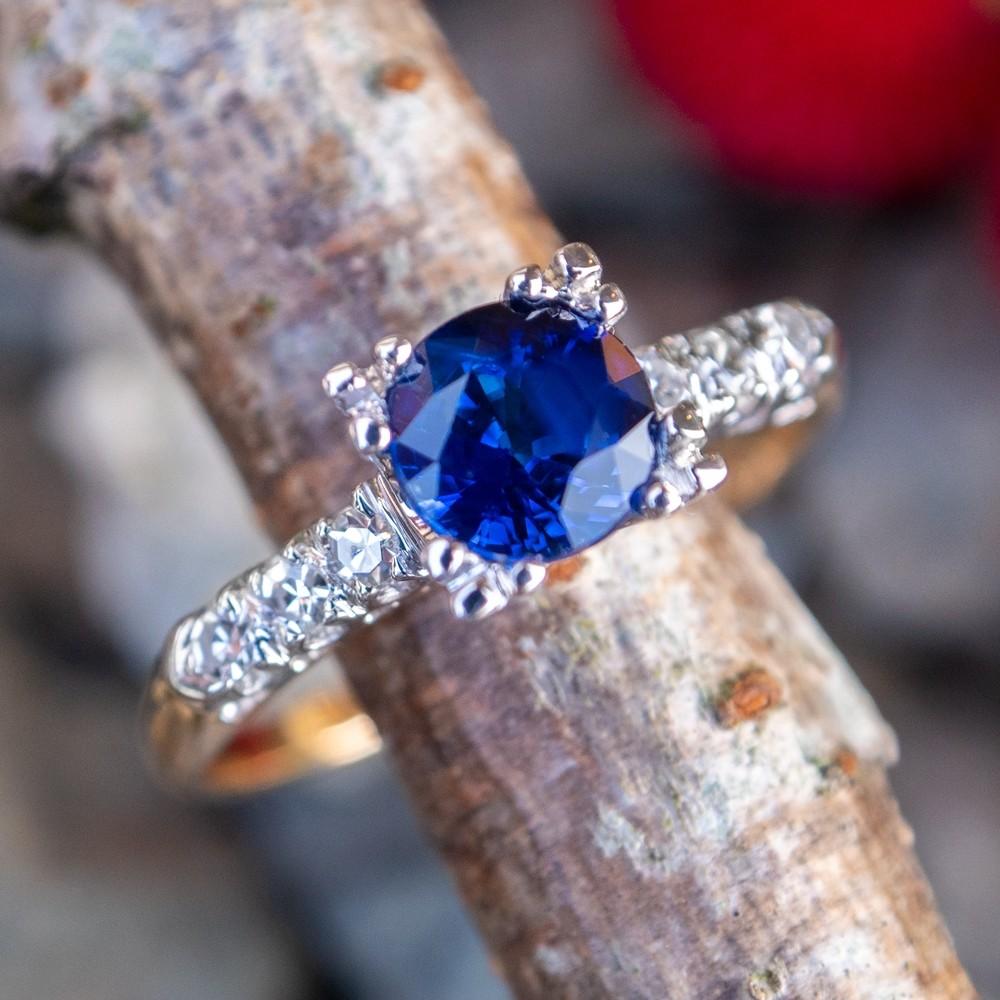 Velvety Blue Sapphire Engagement Ring 14K Two Tone Gold 1950's