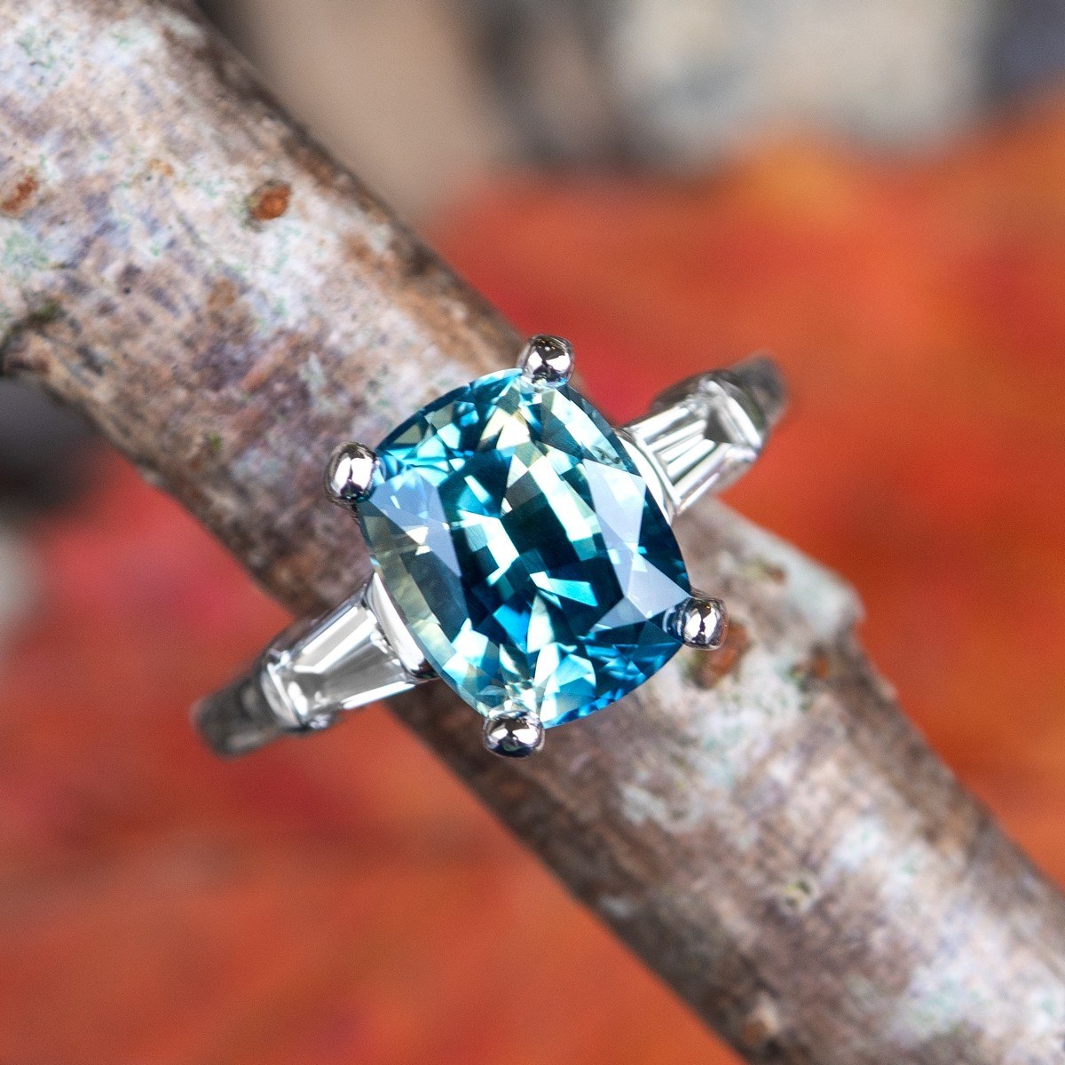 Icy No Heat Bi-Color Blue Green Sapphire Engagement Ring
