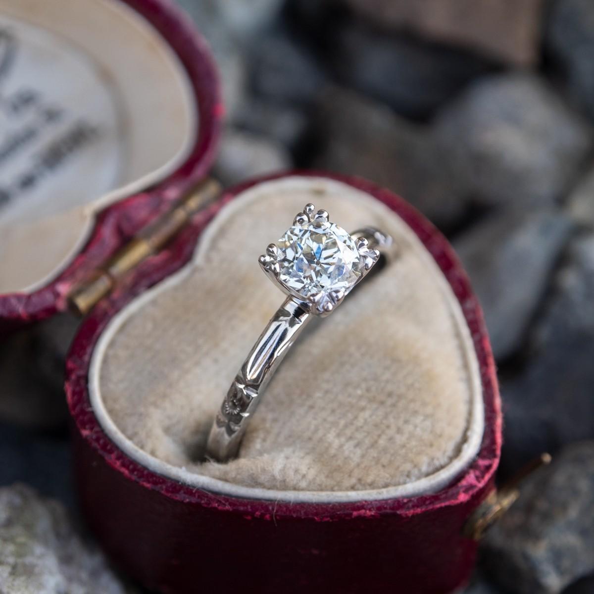 GIA Old Euro Diamond Engagement Ring Vintage Engraved Wedding Band
