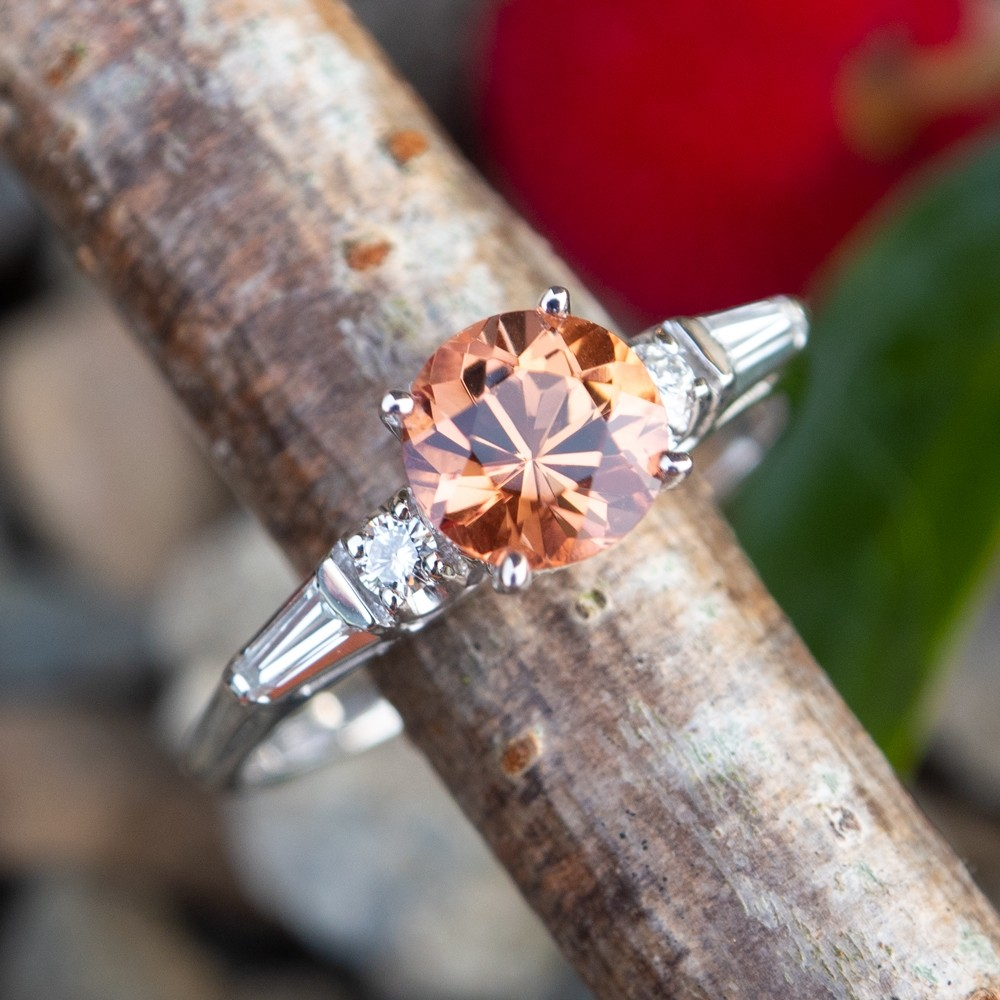Imperial Topaz Engagement Ring 18K