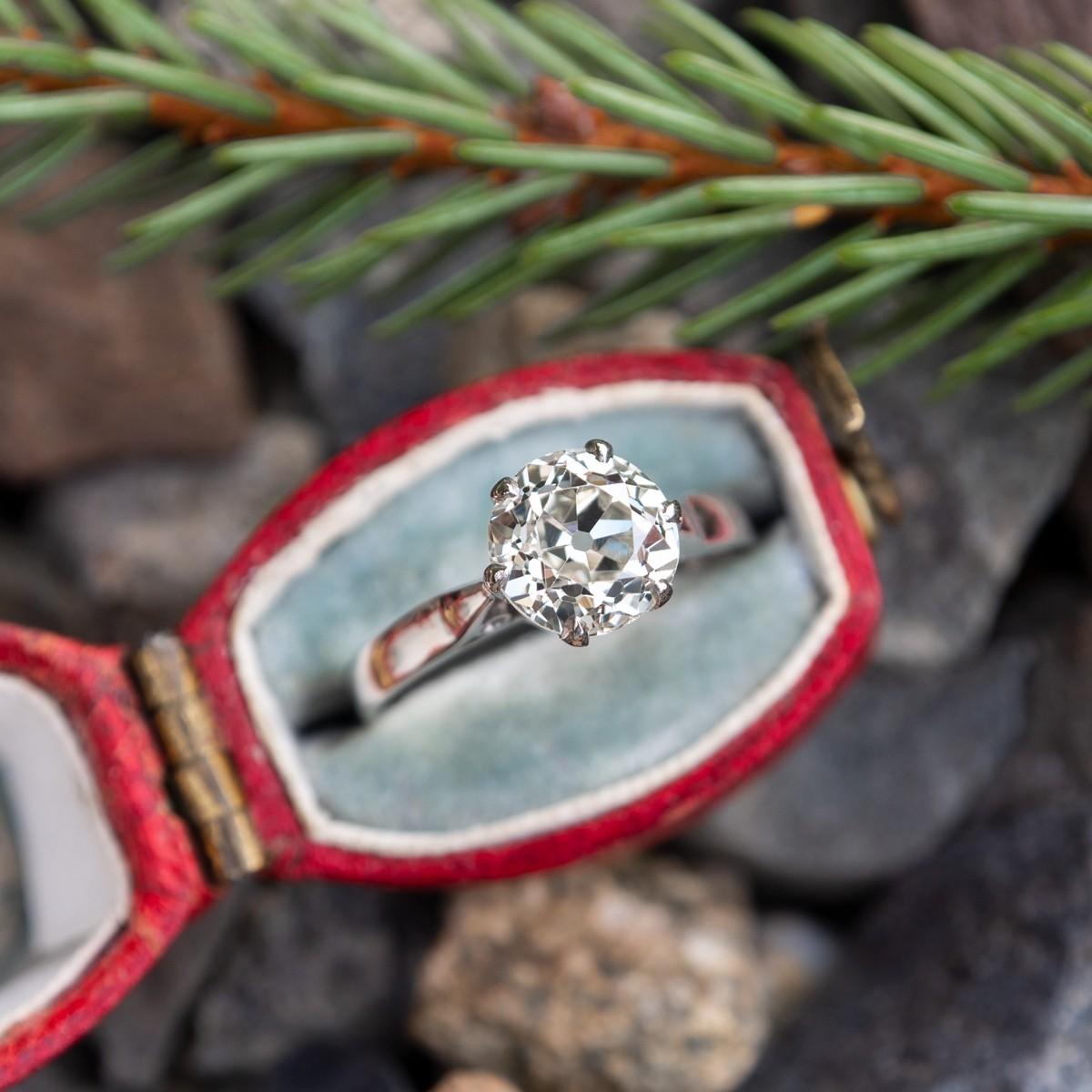 Victorian Solitaire Engagement Ring Old European Diamond Platinum Crown