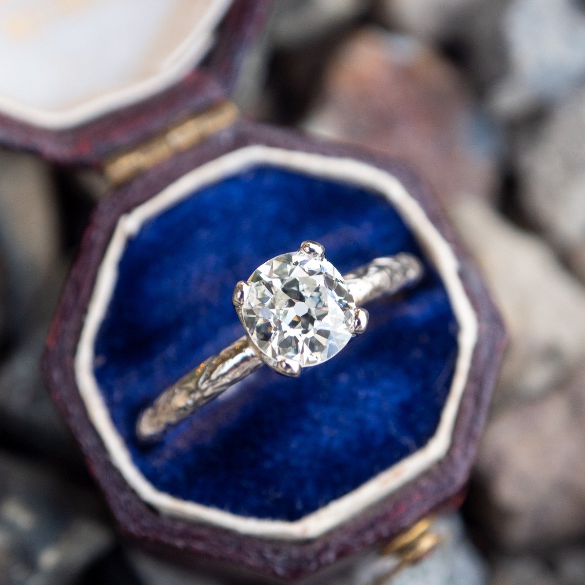 Old European Cut Diamond Solitaire Engagement Ring Antique Band