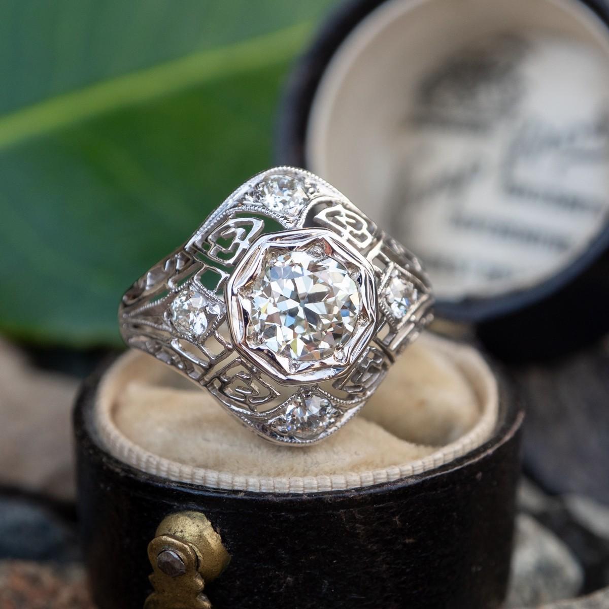 Antique Transitional Cut Diamond Filigree Engagement Ring