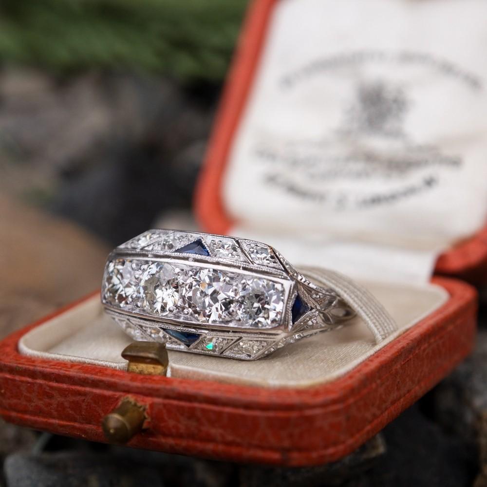 Antique 4-Stone Diamond Ring Platinum Filigree w/ Sapphires Art Deco 1920's