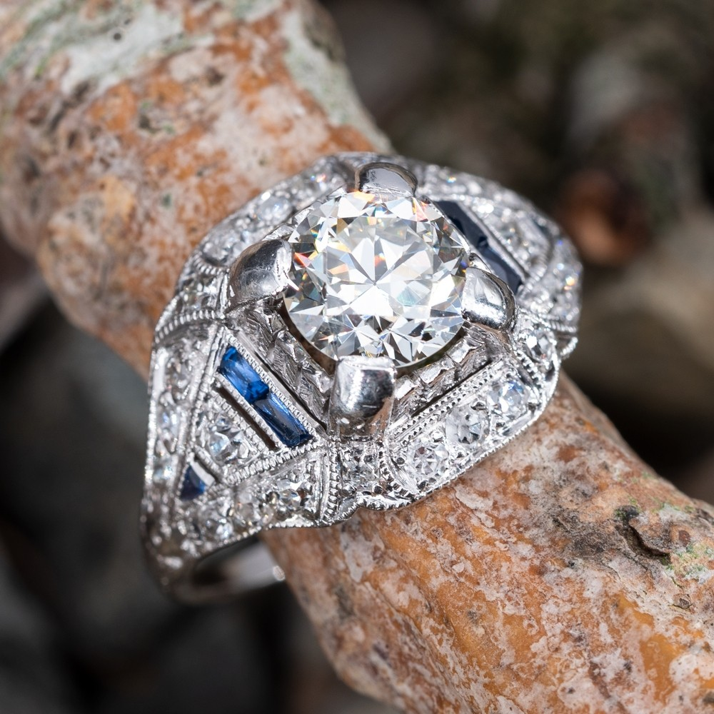 Transitional Cut Diamond Art Deco Engagement Ring w/ Sapphire Accents