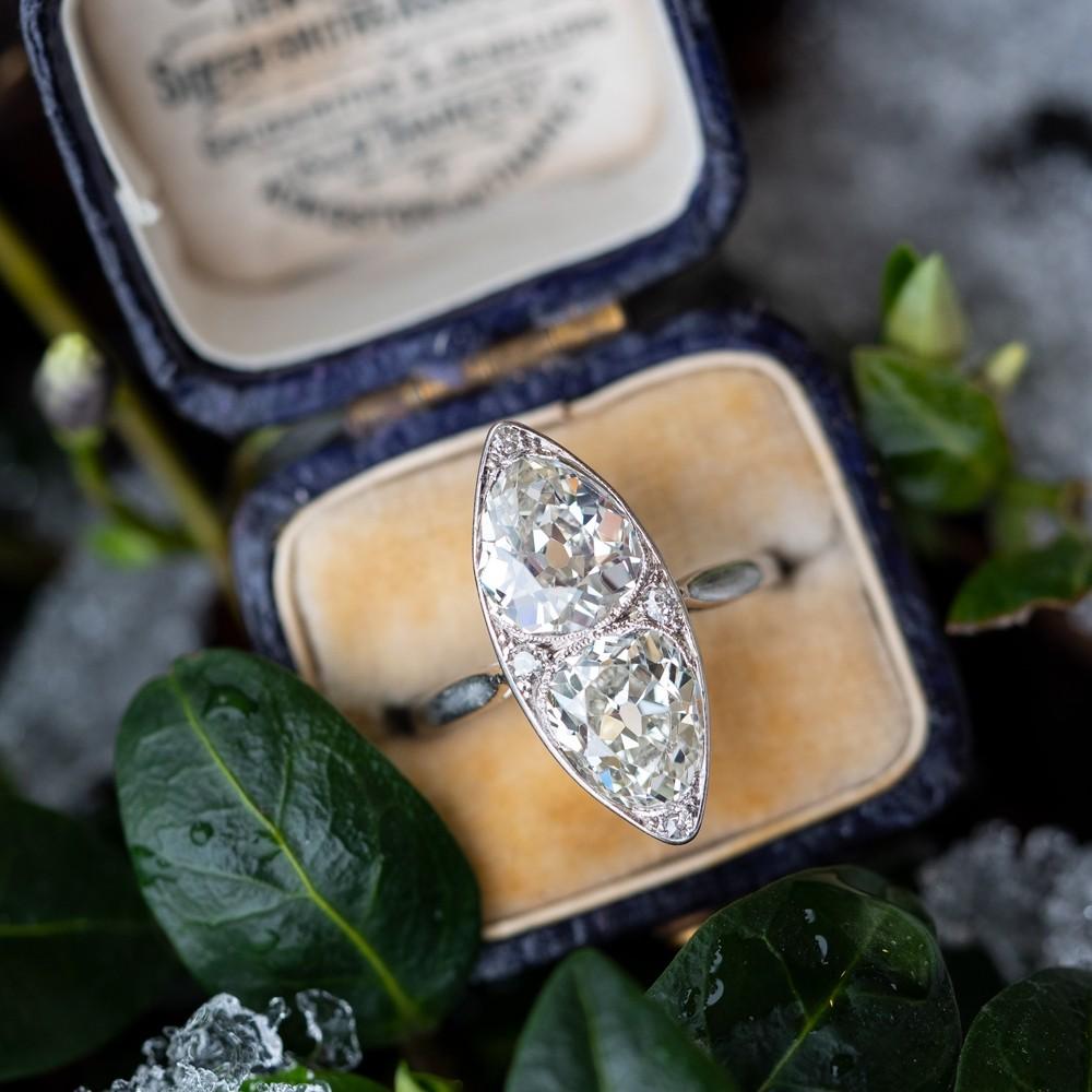 Fine Antique Jewelry Pear Cut Twin Diamond Ring Navette