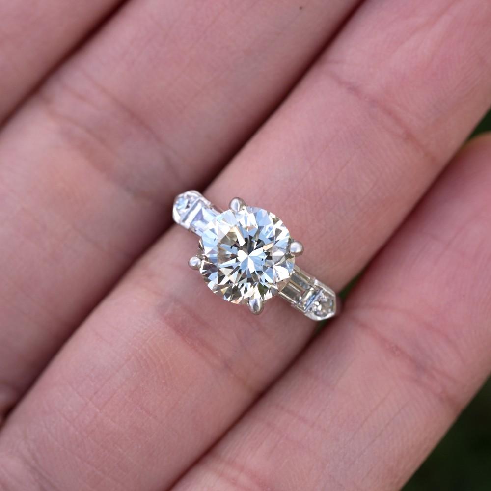 Beautiful 3 Carat Vintage Diamond Engagement Ring Platinum