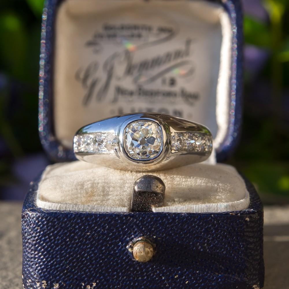 Mens Vintage Old Mine Cut Diamond Ring Platinum