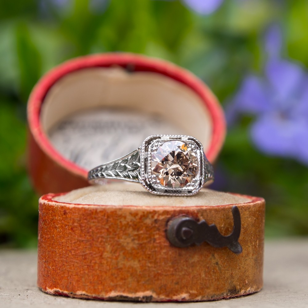 Fancy Light Brown Old European Cut Diamond Filigree Engagement Ring