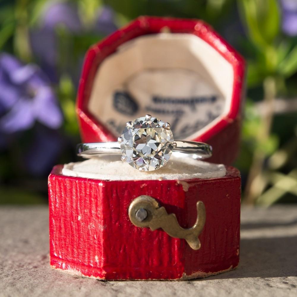 1.49 Carat Solitaire Vintage Engagement Ring Platinum Crown Setting