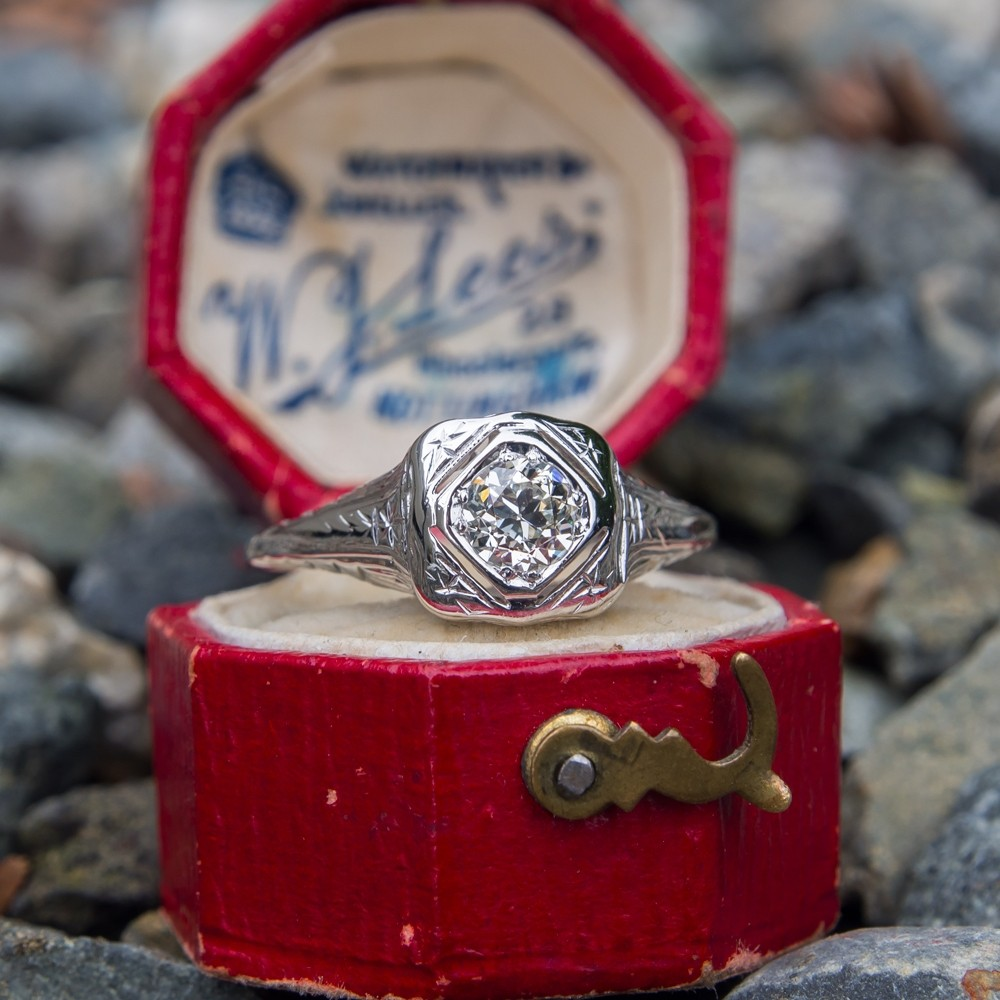1930's Filigree Old European Cut Diamond Solitaire Ring 14k White Gold