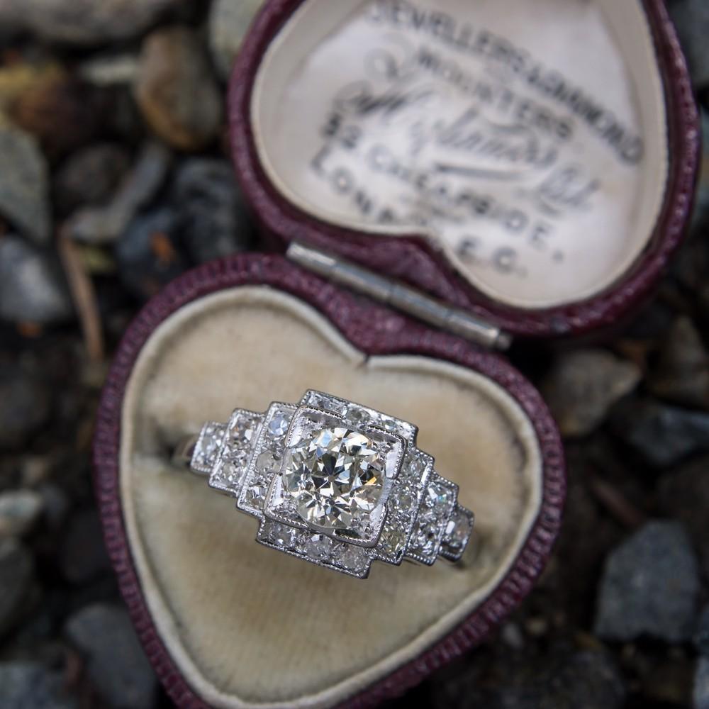 Art Deco Engagement Ring .80 Carat Old Euro Diamond Platinum