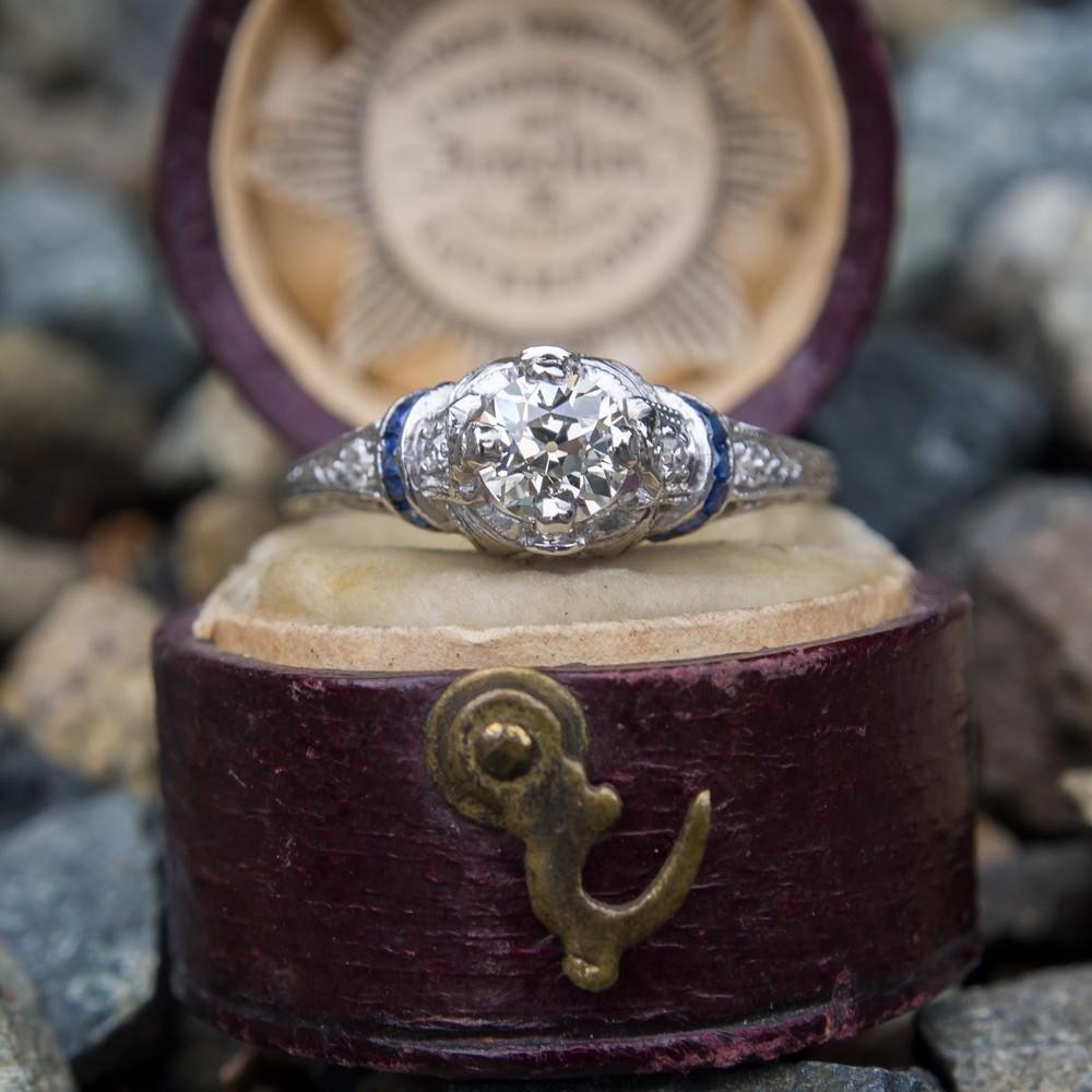 1930's Antique Diamond Engagement Ring w/ Sapphire Accents Platinum
