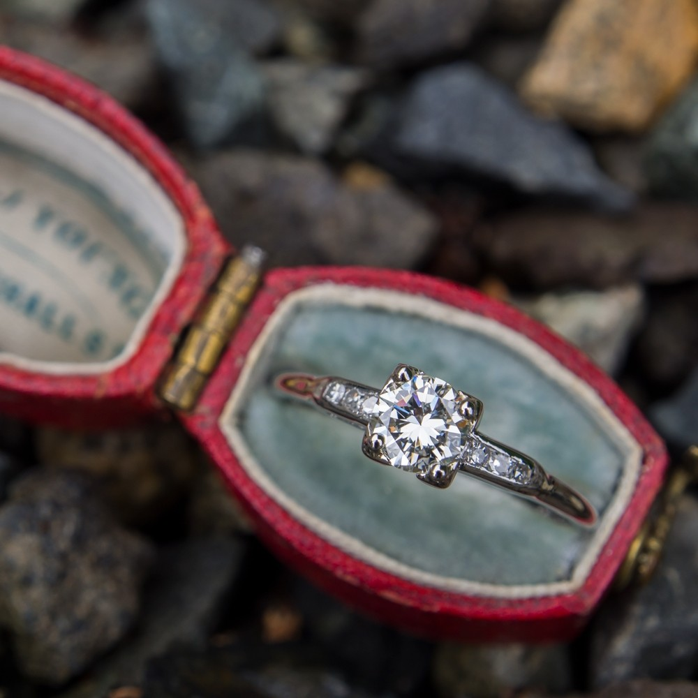 Pretty Platinum Vintage Diamond Engagement Ring