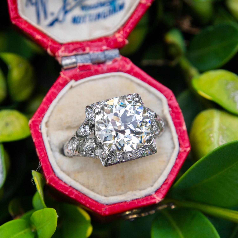 GIA 2.9 Carat Diamond Art Deco Engagement Ring Antique