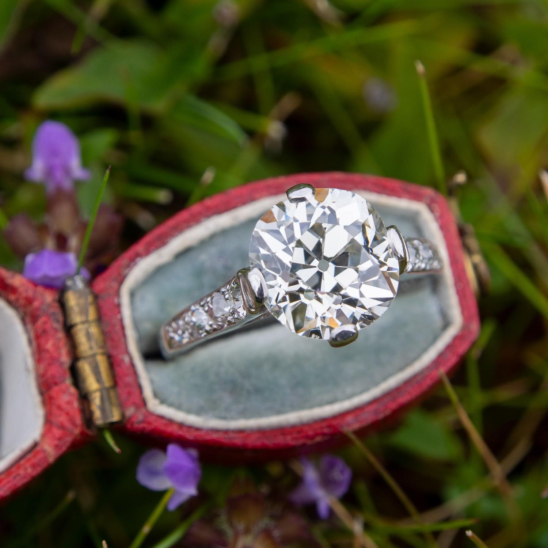 GIA 3.4 Carat Old Cut Diamond Antique Engagement Ring Platinum