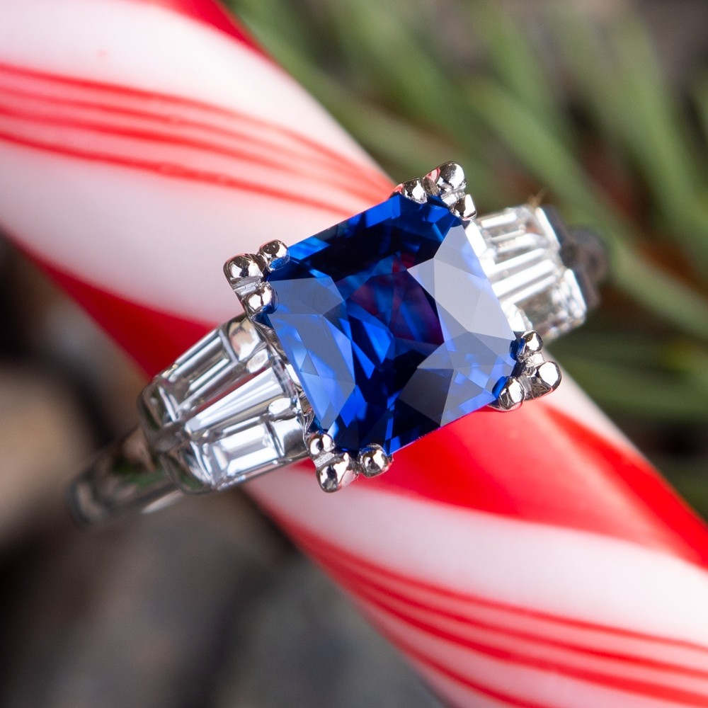Velvety Blue Sapphire & Diamond Vintage Engagement Ring Platinum