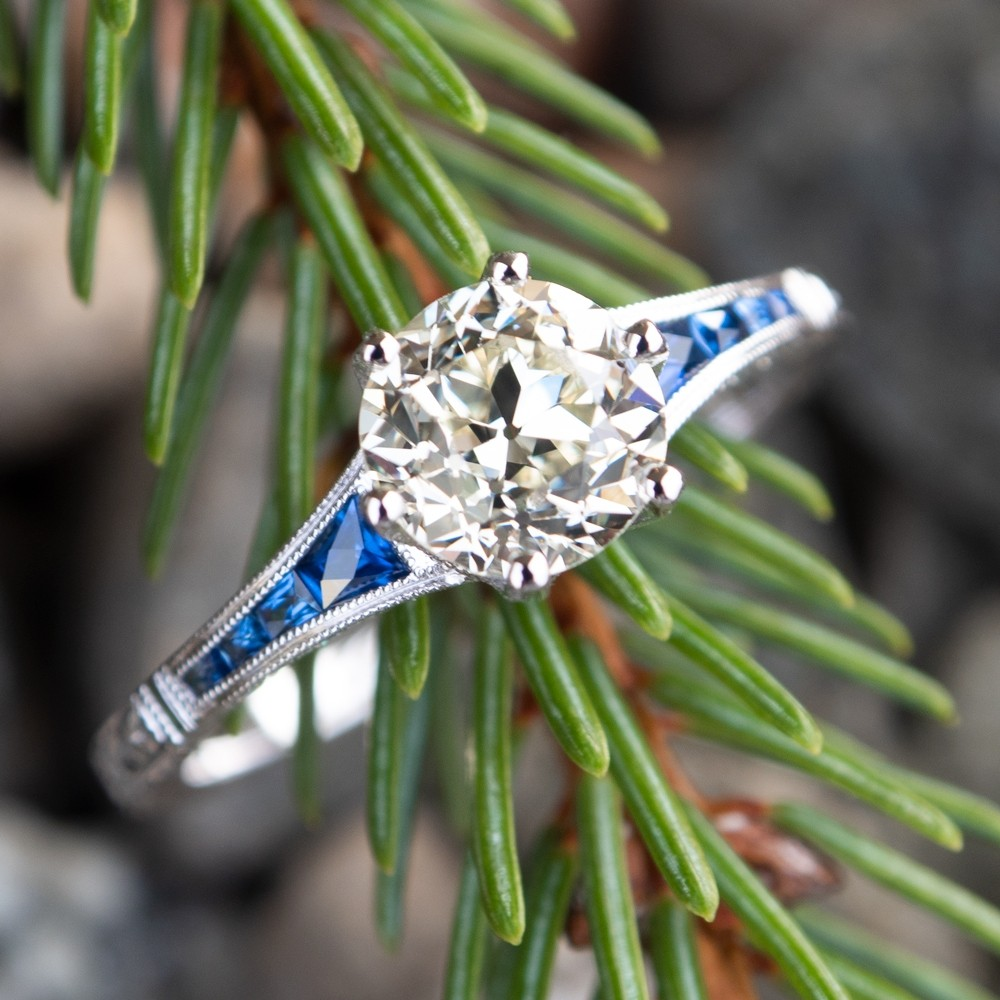 Old European Cut Diamond Engagement Ring W Sapphire Accents