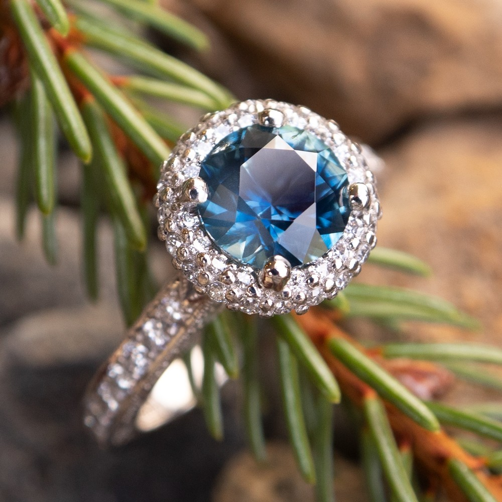 Tacori Diamond Engagement Ring w/ Blue Green Montana Sapphire