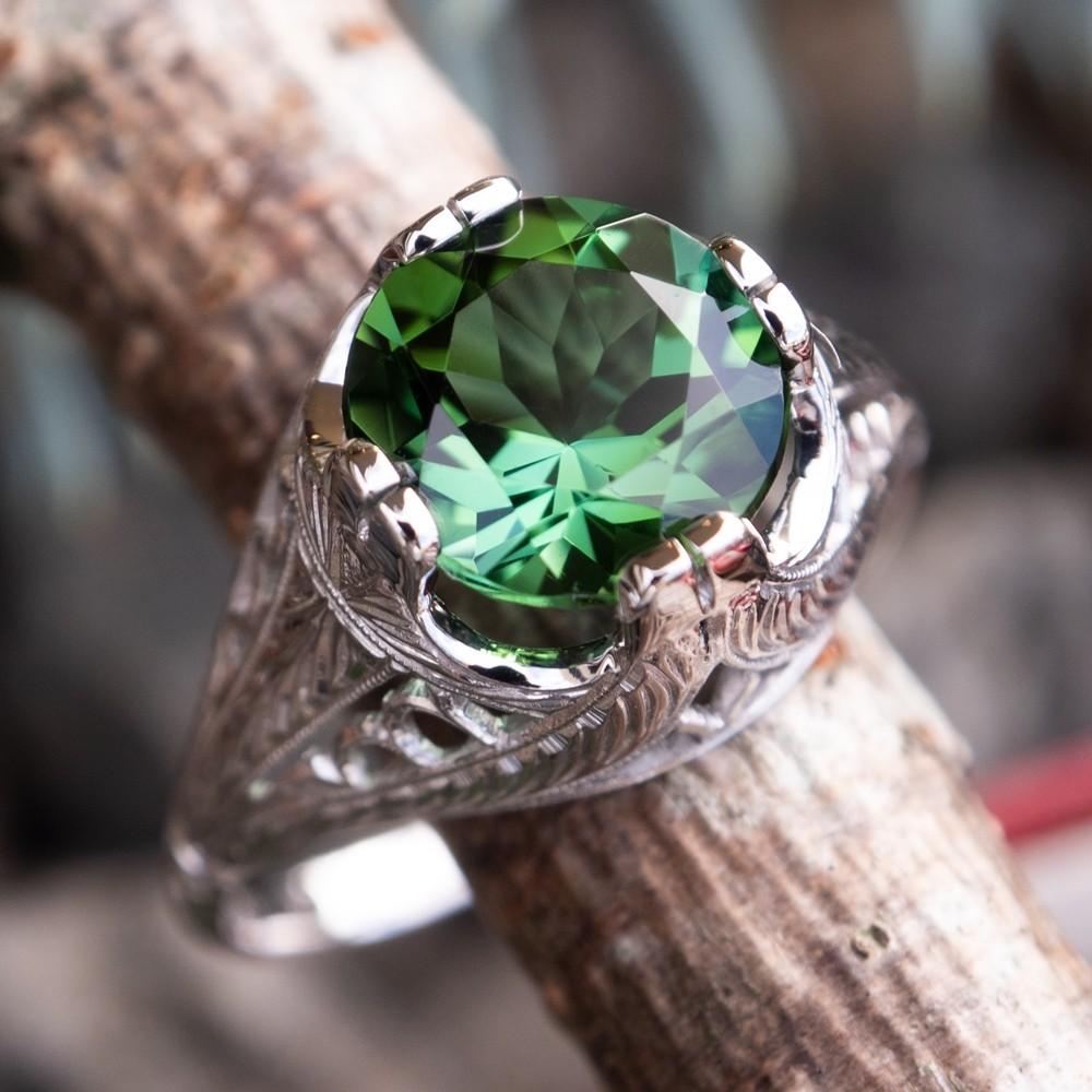 Vivid Green Tourmaline Filigree Engagement Ring 18K