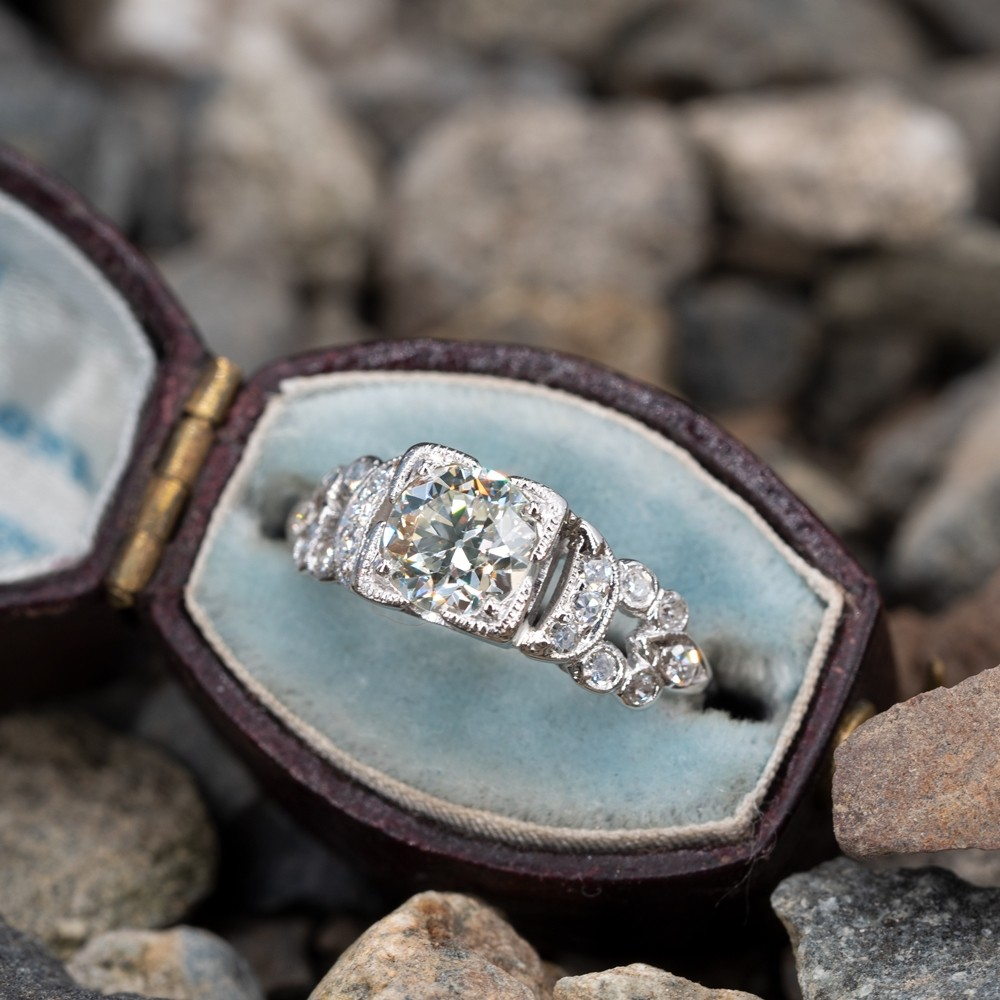 Transitional Cut Diamond Vintage Detailed Engagement Ring