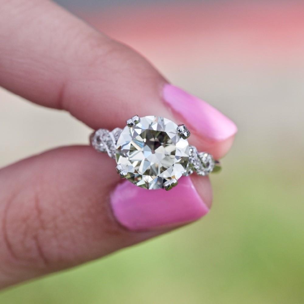 Transitional Cut Diamond 4 Carat 1940\'s Engagement Ring Platinum