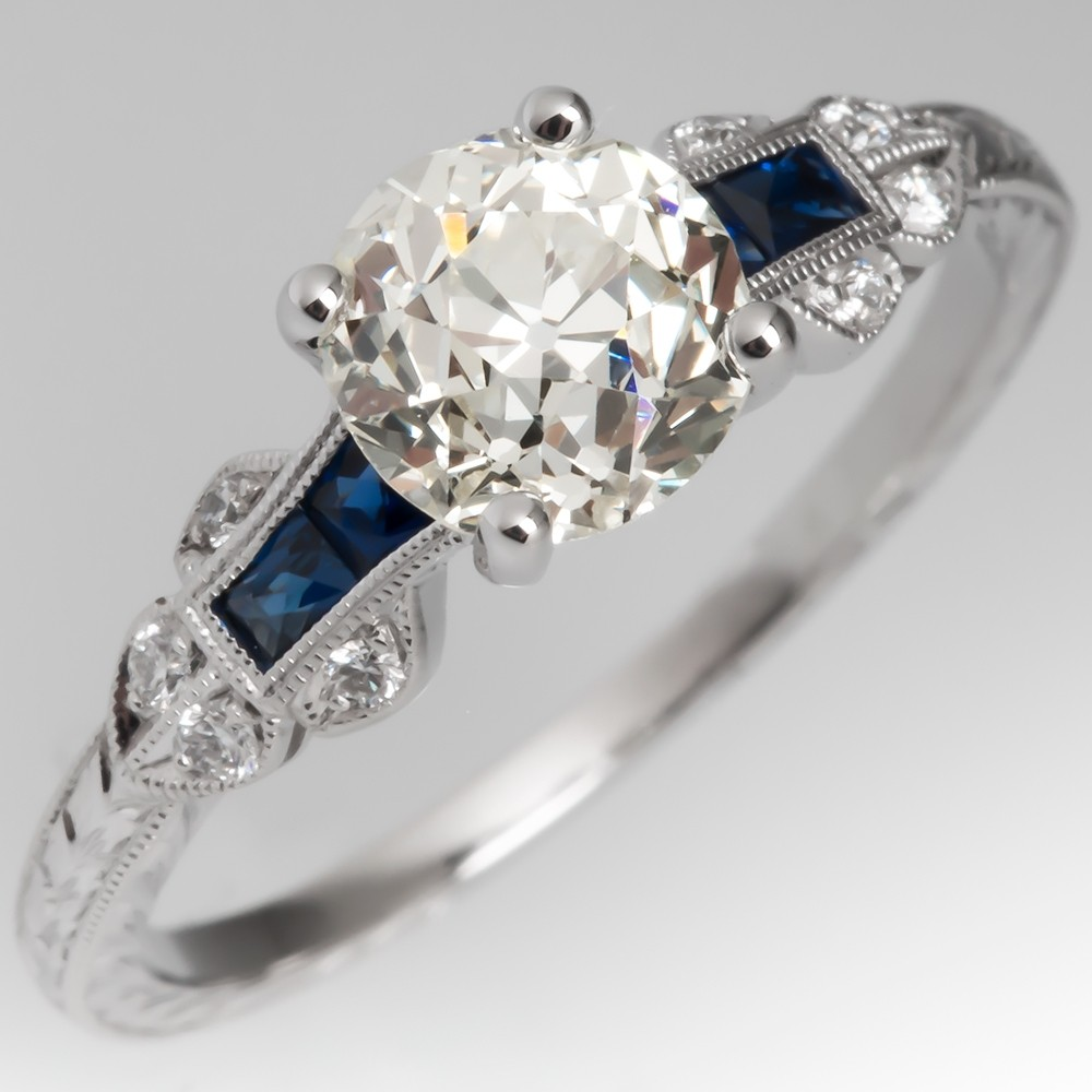 Heirloom Old European Cut Diamond Ring Modern Deco Style Mounting