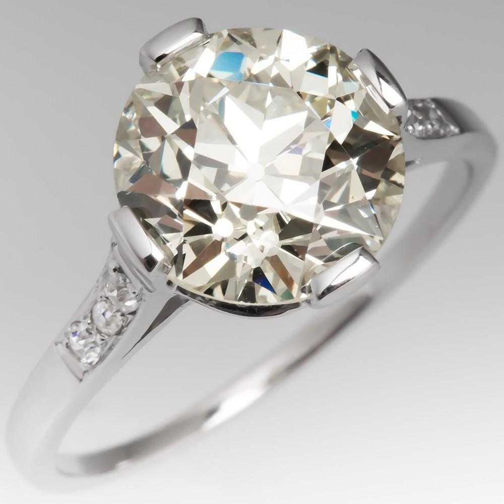 Spectacular Antique 4 Carat Diamond Solitaire Ring with Accents Platinum