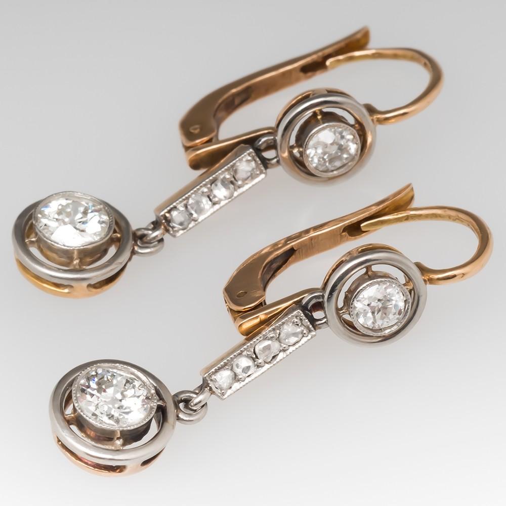 Late Victorian Old European Cut Diamond Dangle Earrings 14K Platinum