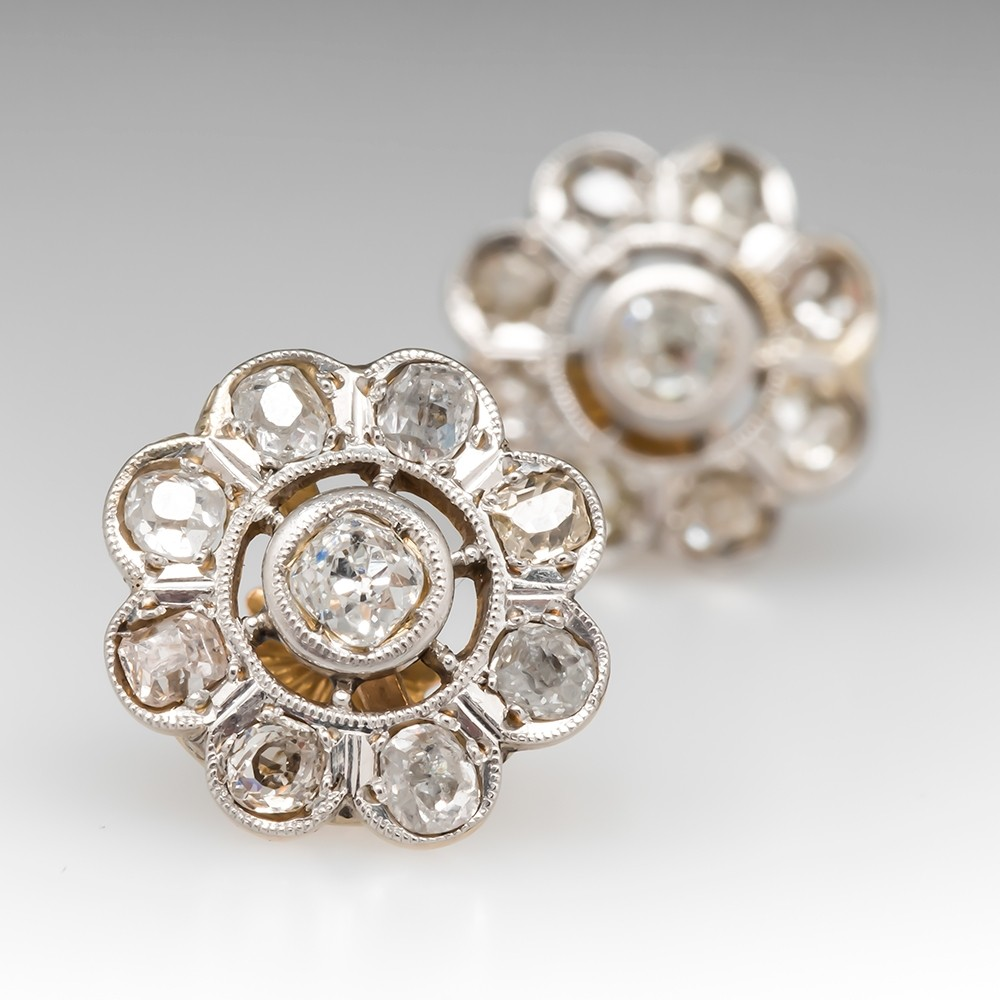 Victorian Floral Diamond Halo Earrings 18K Gold & Platinum