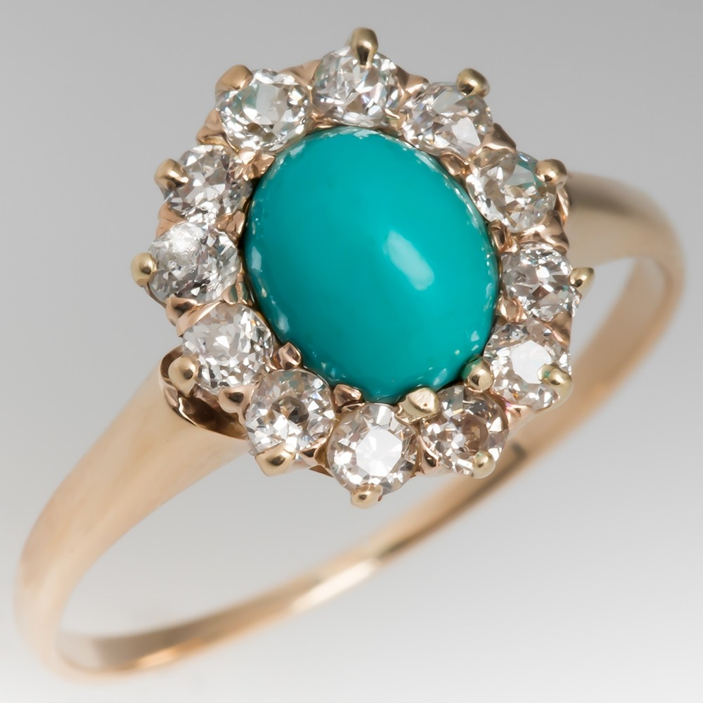 Victorian Era Turquoise & Old Mine Cut Diamond Ring 10K Gold