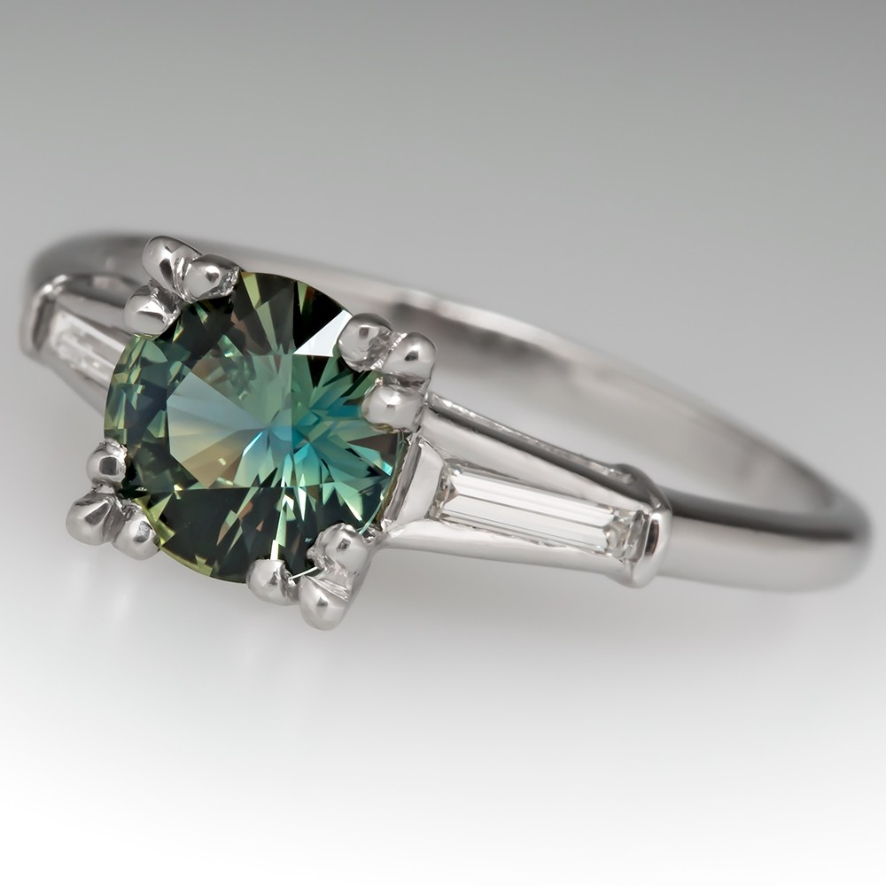 No Heat Green Sapphire Engagement Ring 1960's Platinum Mounting
