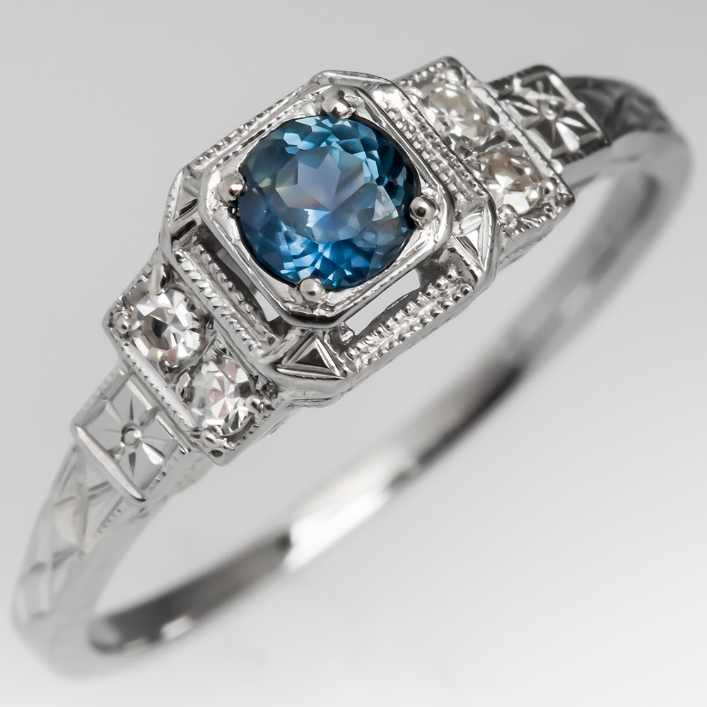 Montana Sapphire Filigree Engagement Ring 1940's Engraved Mounting