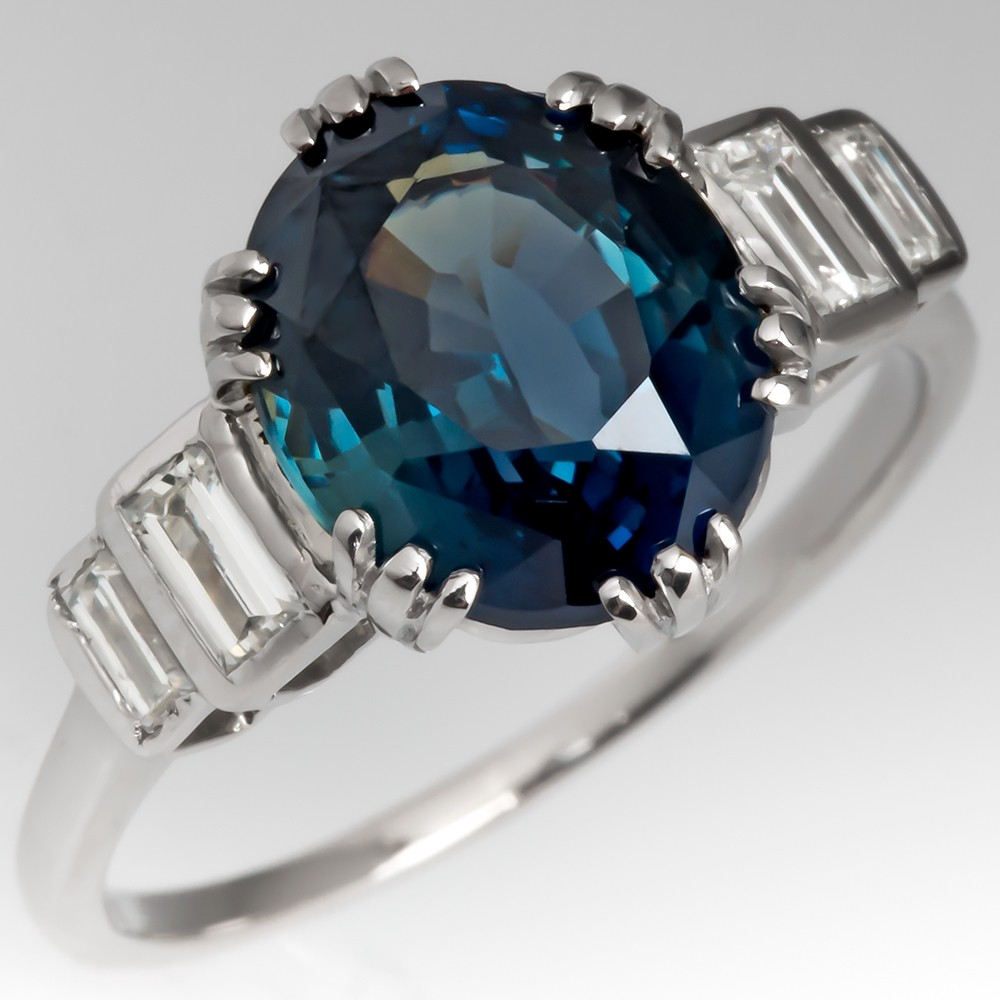 5 Carat Multi-color Blue Green Sapphire Engagement Ring