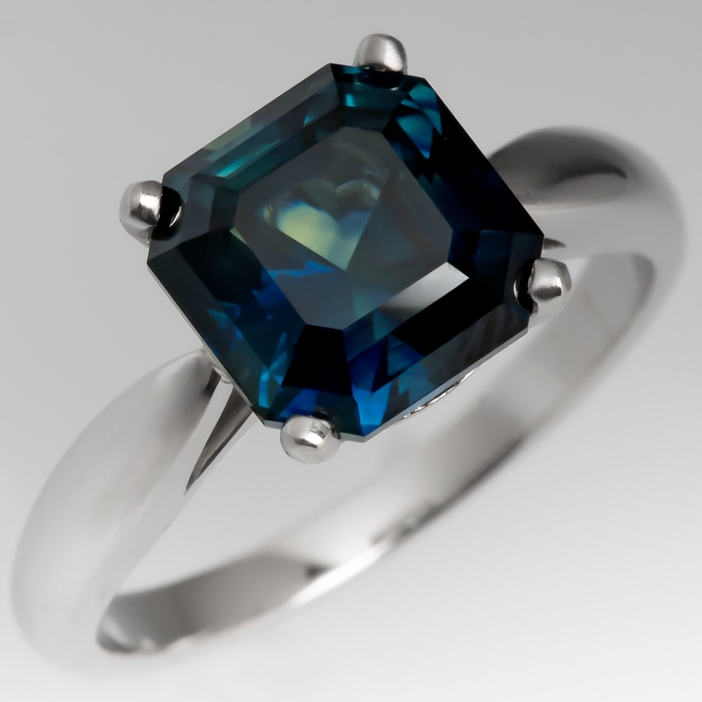 Square Cut No Heat Blue Green Sapphire Solitaire Ring Platinum