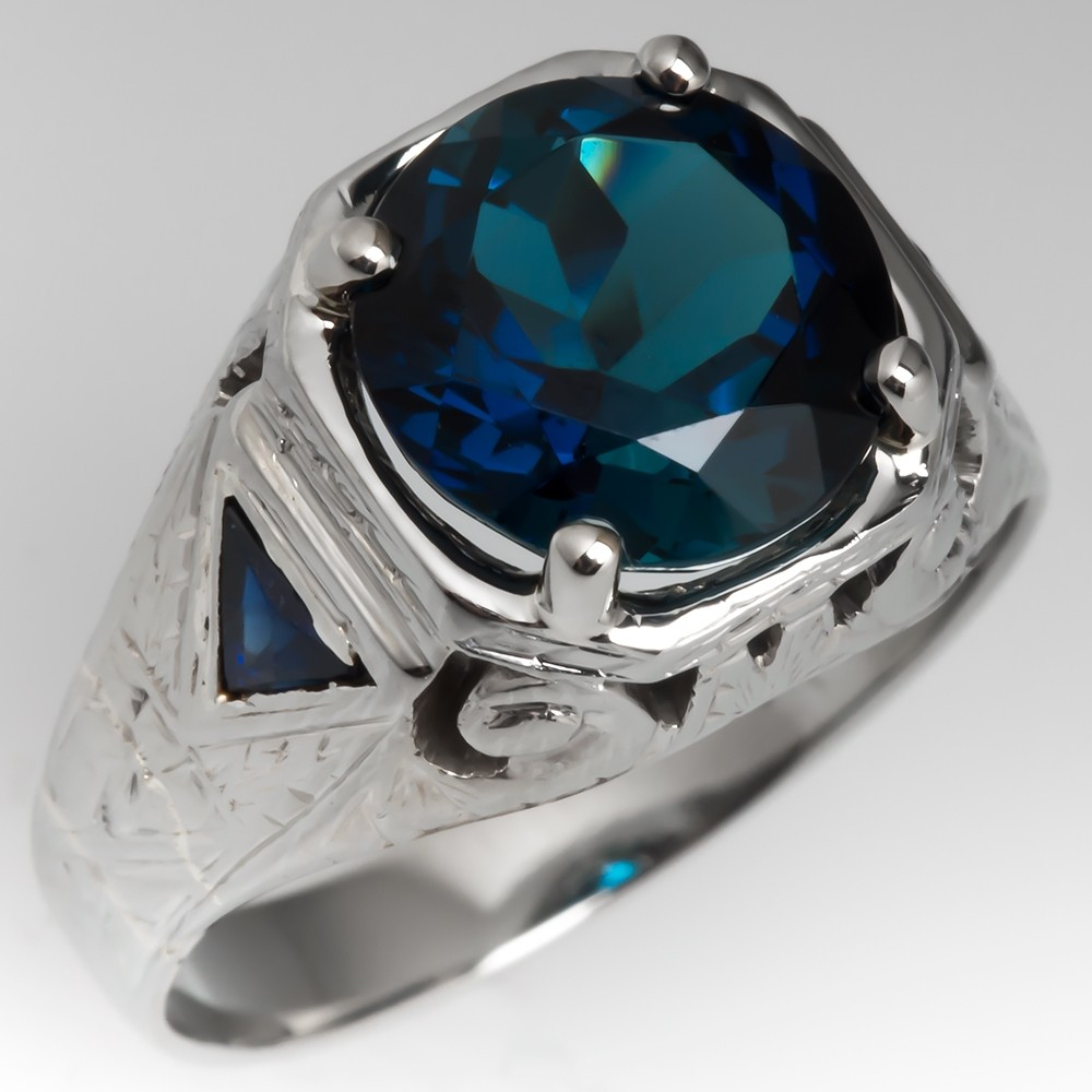Blue Green Tourmaline 1940's Mens Ring w/ Created Sapphires 18K