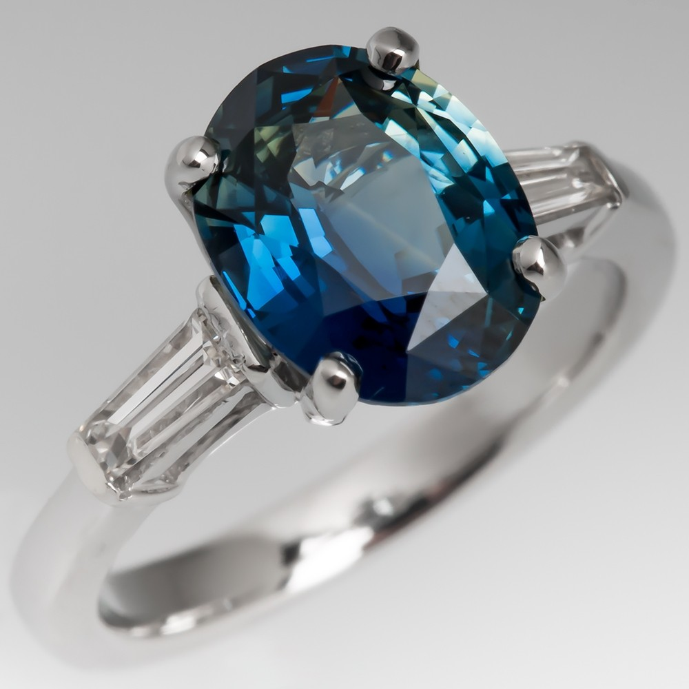 2.8 Carat Blue Green Sapphire Engagement Ring 1950's Mounting