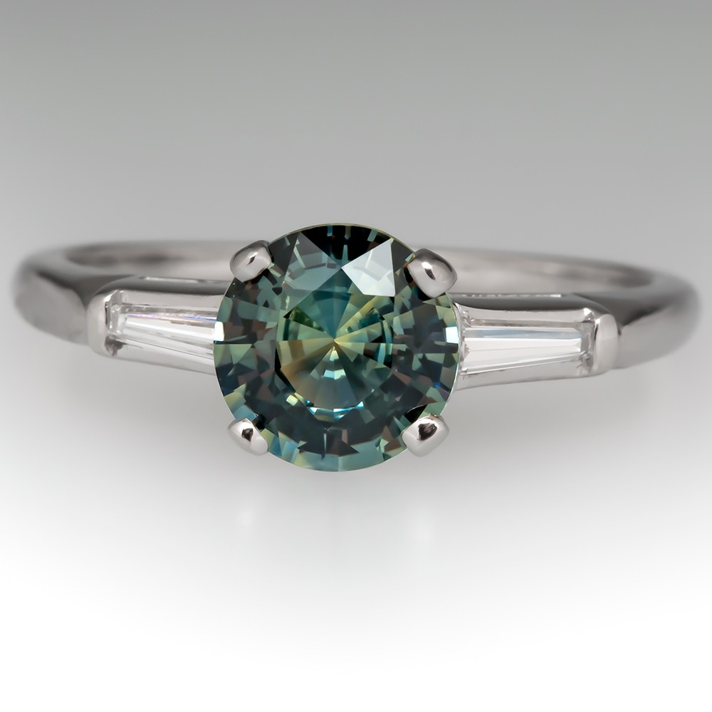 No Heat Pastel Blue Green Sapphire Engagement Ring Platinum