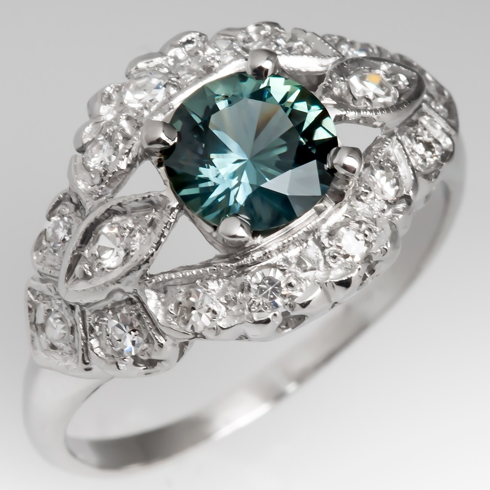 Vintage Platinum Low Profile Diamond Ring with Blue Green Sapphire