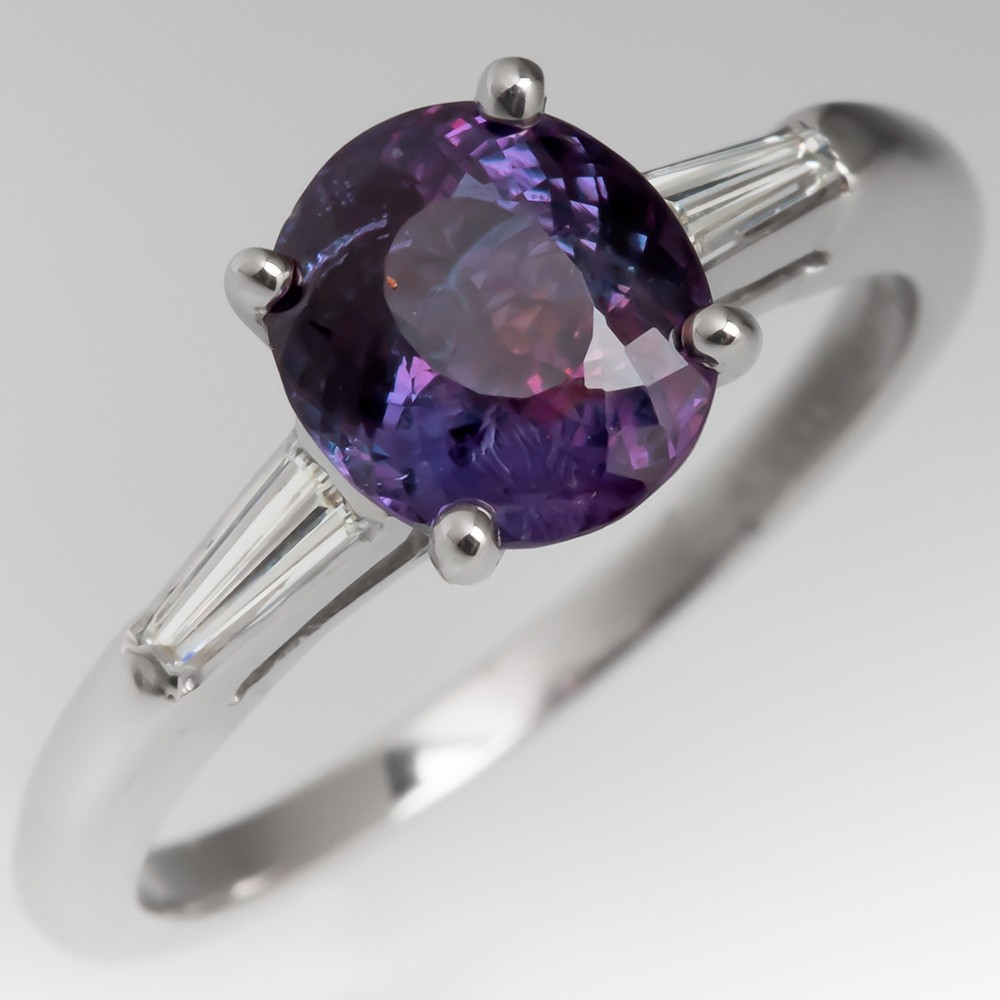 1.7 Carat Alexandrite Ring w/ Tapered Baguette Diamonds in Platinum