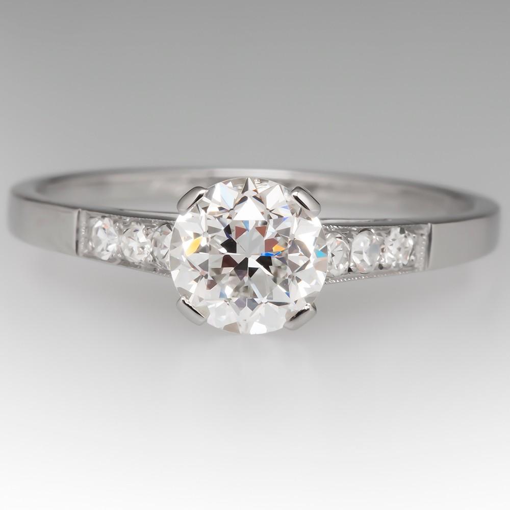 GIA D / VS1 Transitional Cut Diamond Antique Engagement Ring Platinum