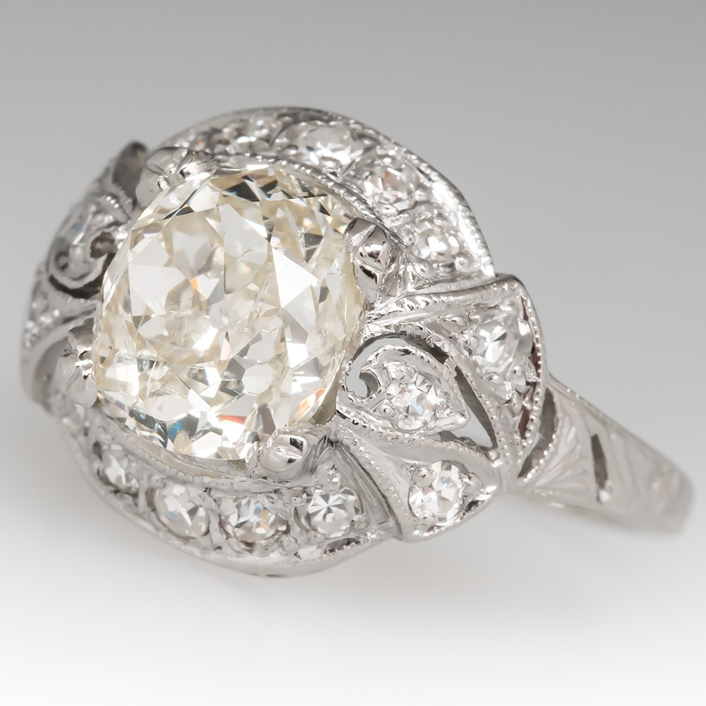 Old Mine Cut Diamond 1920's Antique Platinum Ring