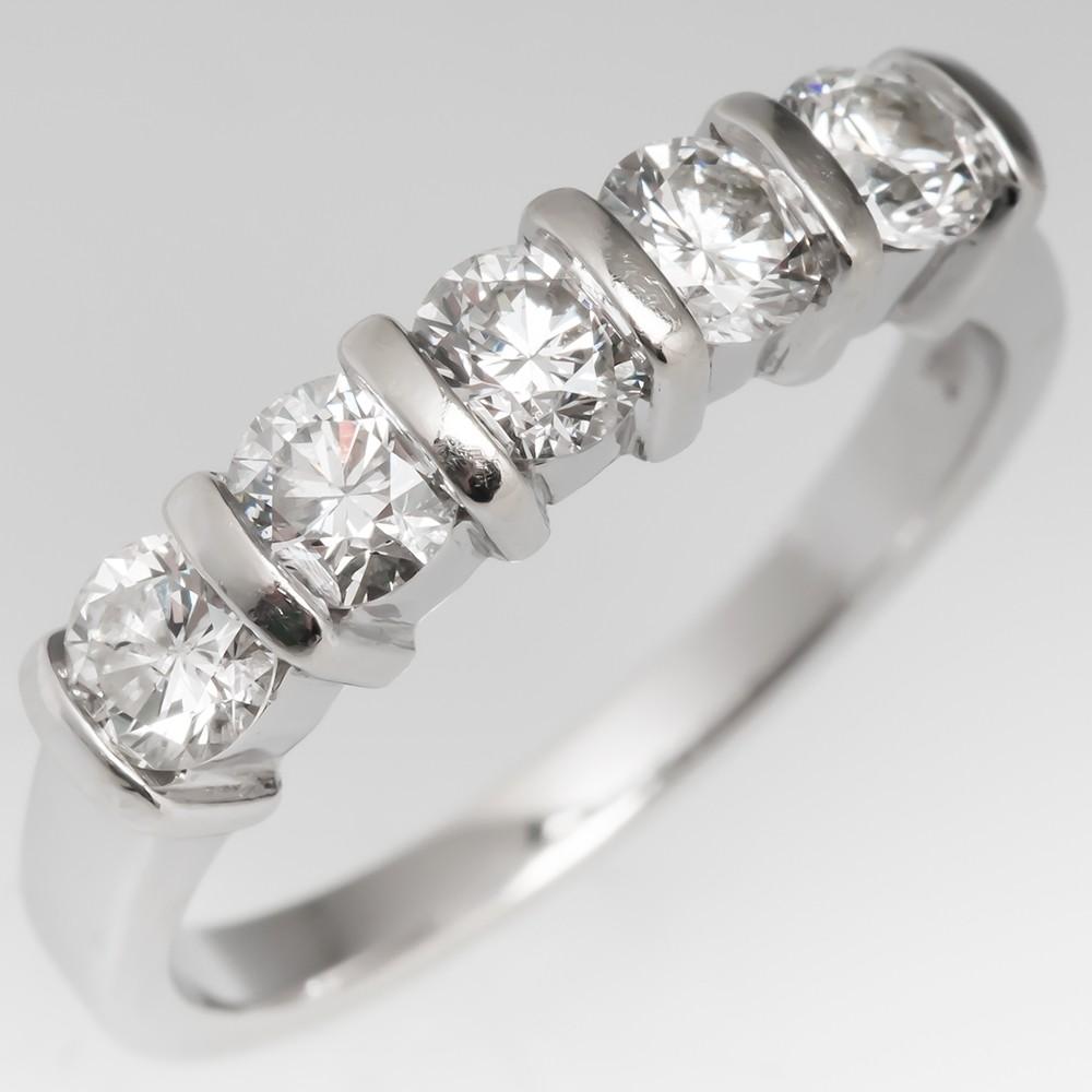 1 Carat Five Diamond Band Ring 14K White Gold