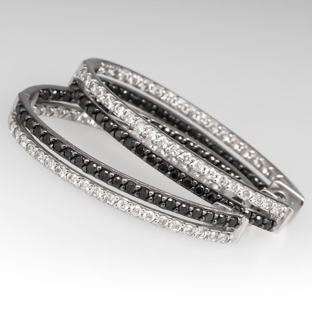 Black & White Diamond Large Hoop Earrings 14K White Gold